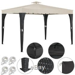 Rattan Gazebo 3x3m Marquee Pavilion Party Tent Shelter Sun Shade Garden Canopy