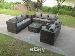 Rattan Sofa Indoor Outdoor Garden Furniture Chair Table Set 8 Seat In Grey