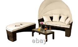 Rattan Sun Lounger Day Bed Outdoor Garden Furniture Table & Canopy Sofa Set