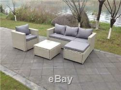 Rattan Wicker Conservatory Outdoor Garden Furniture Set Corner Grey Sofa Table