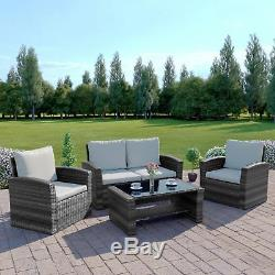 Rattan Wicker Weave Garden Furniture Conservatory Sofa Set With Free Rain Cover