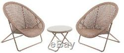 Rattan style foldaway bistro patio garden conservatory table & 2 chairs copper