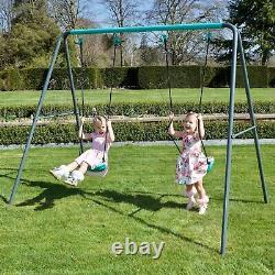 Rebo Childrens Metal Garden Swing Set Double Swing