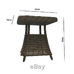 Reclining Rattan Garden Lounger Set in Brown with Table & Footstools As FTR021
