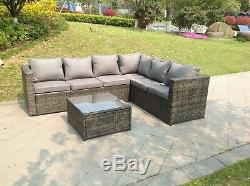 Right arm 6 seater rattan corner sofa set coffee table outdoor garden furniture