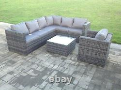 Right arm 7 seater grey rattan corner sofa set chair outdoor garden furniture