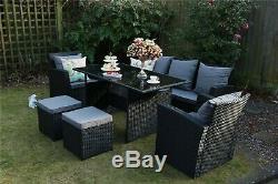 Rosen 7 Seater Rattan Dining Table Sofa Set Outdoor Black Garden Furniture