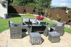 Rosen 7 Seater Rattan Garden Dining Table Sofa Set Outdoor Grey With Rain Cvoer