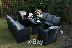 Rosen 8 Seater Rattan Dining Table Sofa Set Outdoor Black Garden Furniture