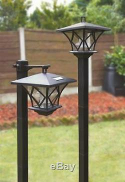 SWGSL51 Pair of Black Garden Outdoors Rechargeable Solar Powered Post Lights