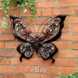 Solar Bright LED Light Metal Butterfly Garden Ornaments Decoration Wall Art