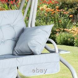 Somerset 3 Seat Swing Hammock Bed Heavy Duty Garden Bench Patio In Grey