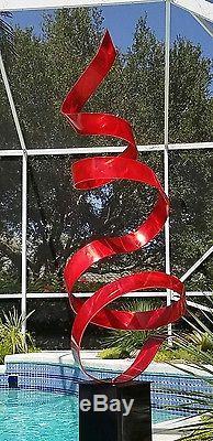 Statements2000 Modern Abstract Metal Art Garden Sculpture by Jon Allen Red Twist