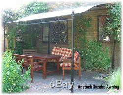 The Adstock Deluxe Garden Patio Lean To Gazebo Awning 2 Sizes Available