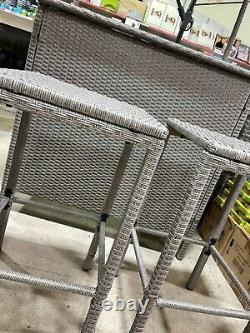 Tiki Bar 3 Piece Rattan Set Garden Outdoor Furniture Grey