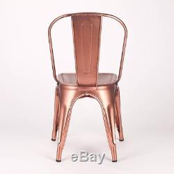 Tolix Metal Dining Chair Vintage Copper Industrial Garden Cafe Stackable Seat V2