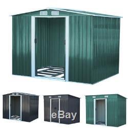 UK Metal Garden Sheds Apex Galvanised Steel Outdoor Heavy-Duty Storage Free Base