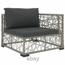 VidaXL 5 Piece Garden Lounge Set with Cushions Poly Rattan Grey Outdoor Sofa