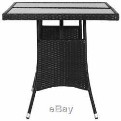 VidaXL 7 Piece Outdoor Dining Set Poly Rattan Black Garden Patio Table Chair