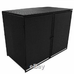 VidaXL Double Wheelie Bin Shed Poly Rattan Black 148x80x111cm Garden Hider Box