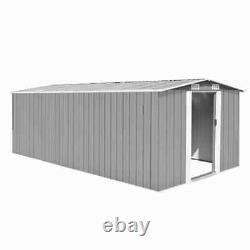 VidaXL Garden Shed 257x489x181cm Metal Grey Outdoor Tool Storage House Cabin