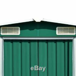 VidaXL Garden Shed 257x497x178cm Metal Green Outdoor Tool Storage House Cabin