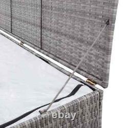 VidaXL Garden Storage Box Grey 120cm Poly Rattan Patio Outdoor Storage Chest