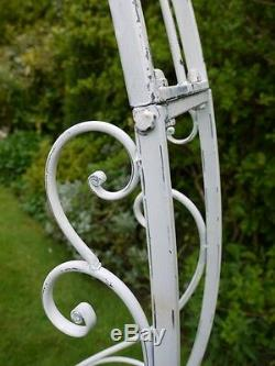 Vintage garden arch steel pergola rose arch aged white with planters aged white