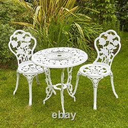 White Bistro Set Outdoor Patio Garden Furniture Table and 2 Chairs Metal