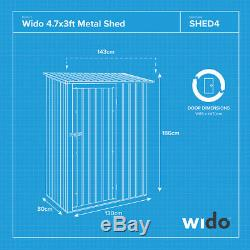 Wido 4.7 x 3FT GREEN METAL GARDEN SHED STEEL PANEL OUTDOOR TOOL STORAGE BIKE