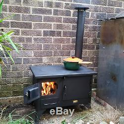 Wood Burning Cooking GARDEN Stove Fireplace Oven Cooker Chimney & Cowl incl 5 kw