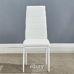 Wooden Dining Table Set Grey&White with 6 Faux Leather Chairs Modern Furniture