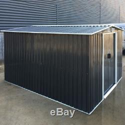 XXL 10 x 8FT SHED Heavy Steel Outdoor Metal Storage Grey Garden Shed +Foundation