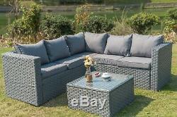 Phenomenal Yakoe 5 Seater Rattan Corner Sofa Set Outdoor Garden Machost Co Dining Chair Design Ideas Machostcouk