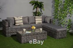 Yakoe Garden Furniture 3 in1 Function Rattan Sofa Set 6 Seater with Table Bench