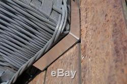 Yakoe Papaver 9 Seater Rattan Corner Sofa&Dining Set Patio Garden Furniture Grey