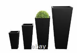 Zinc Black Tall Flared Square Planter Metal Plant Pot Garden Patio Galvanised