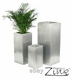 Zinc Silver Steel Metal Tall Cube Planter Garden Indoor Plant Pot Inserts Choice